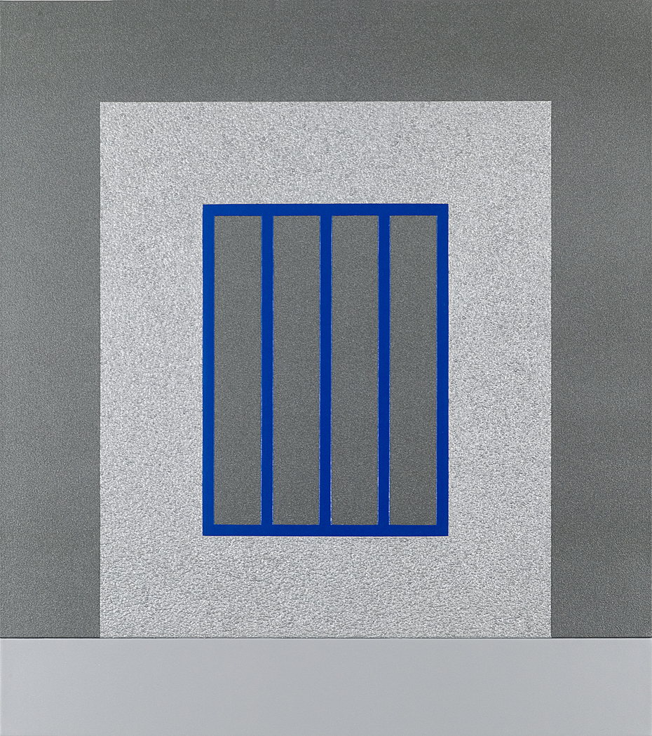 Peter Halley  -  Silver prison with Blue Bars  2007