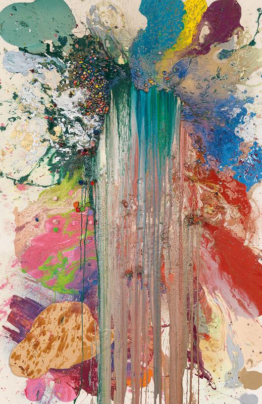 John M Armleder,    Pruniers fleuris , 2018  Technique mixte sur toile —225 ×150 cm Courtesy of the artist & Galerie Almine Rech, Paris —Photo: Annick Wetter