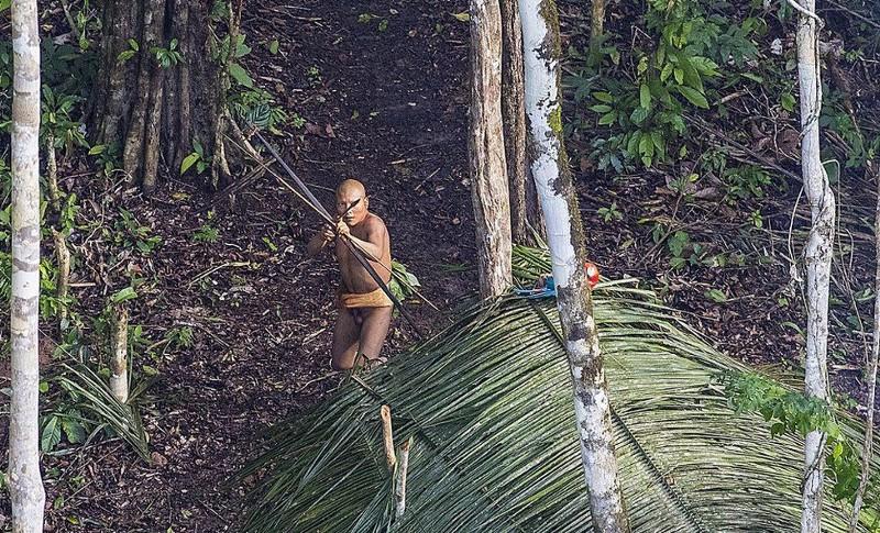 Photo de Ricardo Stuckert, en 2016, d'une communauté autochtone jamais contactée auparavant. La photo a été prise lorsque le photographe a survolé une zone d'Acre avant de se rendre au village de Caxinauá, où il a réalisé une séance photo pour le livre Índios Brasileiros. Disponible sur la    BBC   .