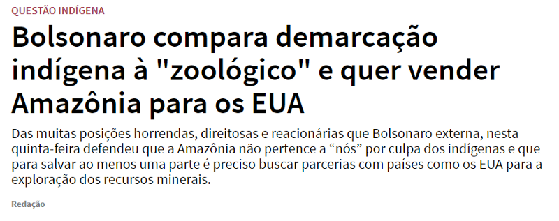 """Bolsonaro compare les réserves indiennes à un """"zoo"""" et veut vendre l'Amazonie aux USA"""