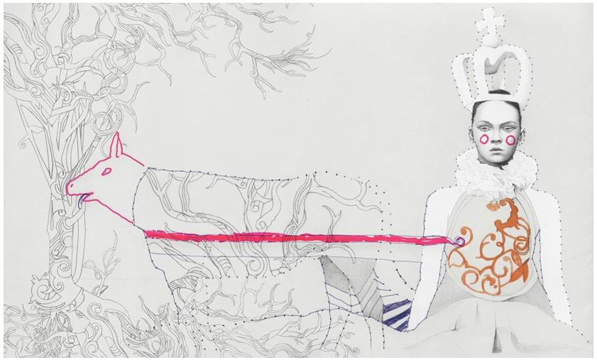gildo-medina-lane-crawford-art-drawing-no6-horse-with-pig-head-and-princess-who-know-how-to-Love-obruza.jpg