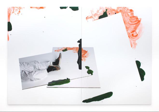 Dominique Figarella , Sans titre, 2014   Digigraphie, crayon, ac rylique sur alucore 150 × 220 × 1,5 cm (diptyque)Courtesy galerie Anne Barrault / Photo de l'artiste