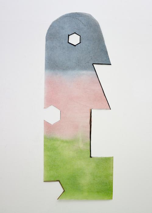 Daniel Dezeuze  Gaze, 1980-1981 — Gaze découpée et peinte, ruban adhésif  — 176 x 66 cm  Courtesy Galerie Templon, Paris et Bruxelles / Photo : B.Huet-Tutti. © Adagp, 2018