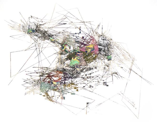 Lyndi Sales,  The unified field, 2018 —  Acrylique et charbon de bois sur carton — 88 x 130 x 3,5 cm  Courtesy of the artist & Galerie Maria Lund, Paris