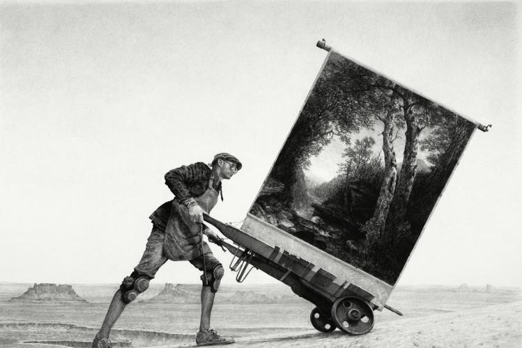 """L'art-propriation d'Ethan Murrow à la Galerie Particulière - Art   """"Mon duo fictif est déterminé à voler le monde pour son propre bénéfice. Deux hommes blancs, inconscients des conséquences, parcourent la planète et engloutissent tout ce qu'ils veulent. Nous les retrouvons vêtus de noir et blanc à la manière de prisonniers et rappelant la peinture abstraite du XXe siècle, en pleines frasques en train de piquer des peintures à tort et à travers, détourner des dirigeables, s'esquiver avec des fleurs rares ou se servir d'une trappe pour trimbaler des objets de l'est à l'ouest. Ils s'en moquent et s'efforcent d'atteindre leurs objectifs. Ils travaillent dur, mais ne se posent pas de questions quant à l'impact de leurs choix."""""""