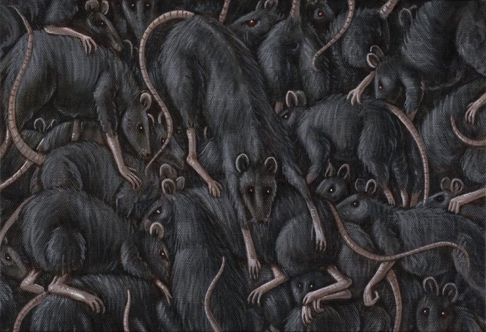 Philippe Mayaux,   Unis contre le motif ( les rats) , Tempera sur toile, 34x 45 cm, collection privée Paris, Courtesy Loevenbruck, Paris. Tous droits réservés / All rights reserved.