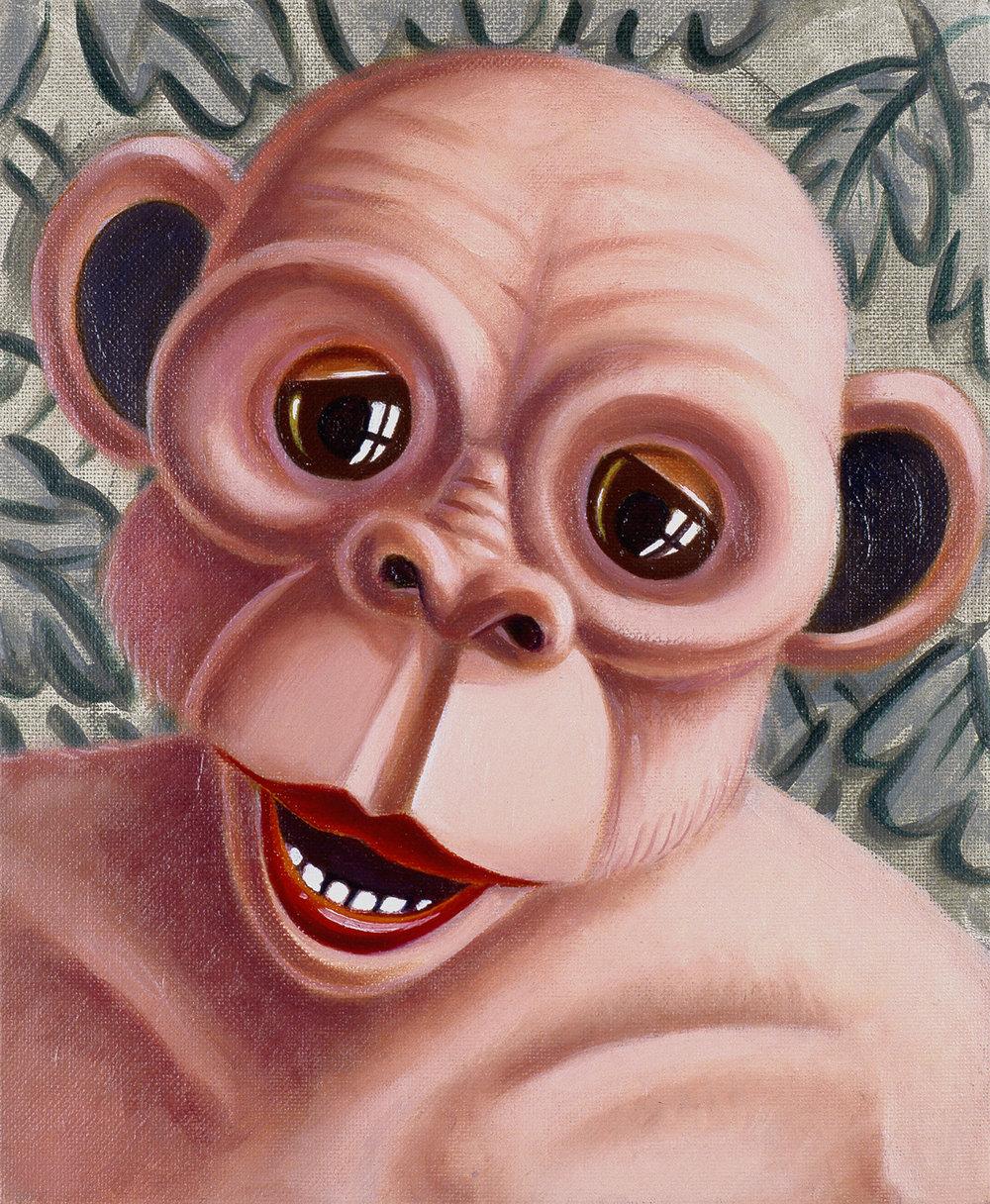 Philippe Mayaux ,  Le Chaînon manquant (singe rose) 1994  , Acrylique sur carton entoilé, 27x 22 cm, collection particulière Paris, Courtesy Loevenbruck, Paris. Tous droits réservés / All rights reserved.