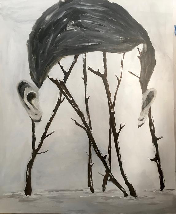 Edi Dubien,  À 6h du matin l'hiver, 2017   — Acrylique sur toile — 162 x 130 cm   © Edi Dubien. © Adagp, Paris 2019.
