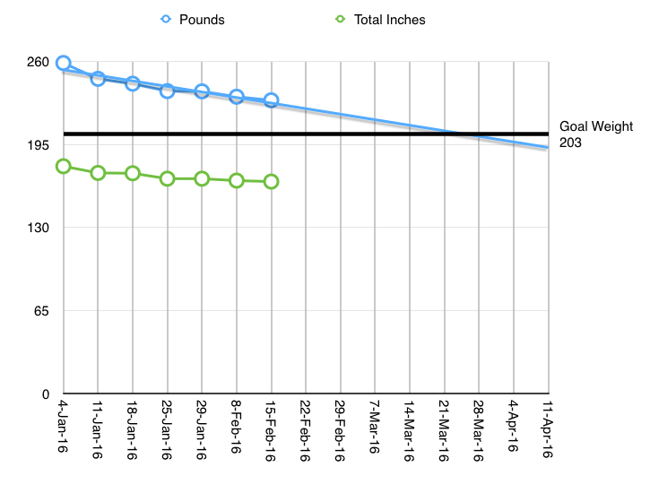 Weight loss from 4-Jan-15 - 15-Feb-16 = 28lbs