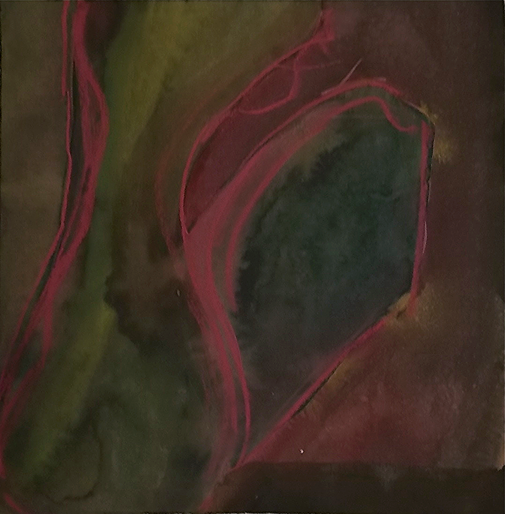 "darkness that can be touched #3    9 1/2"" x 9 5/8""  pastel on watercolor on black paper"