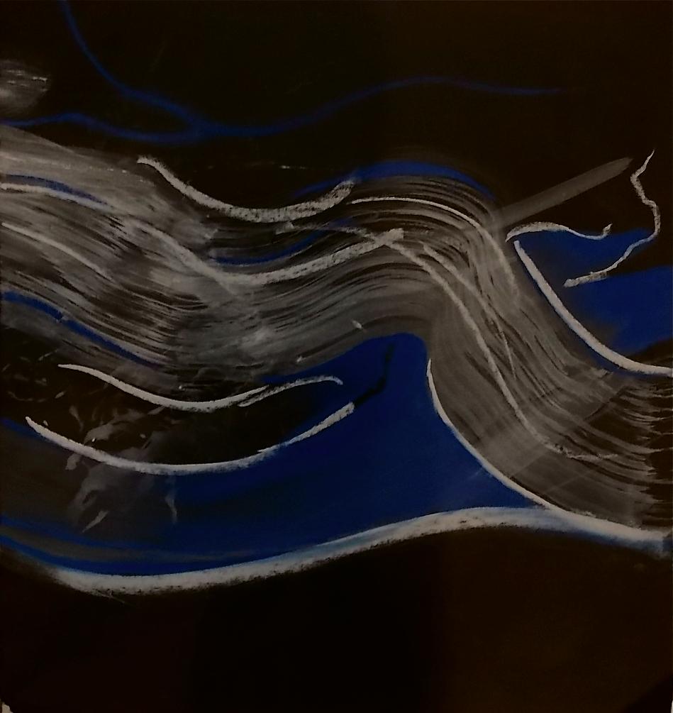 "lapis lazuli pastel & watercolor on black pape 11 1/2"" x 12 3/8"""