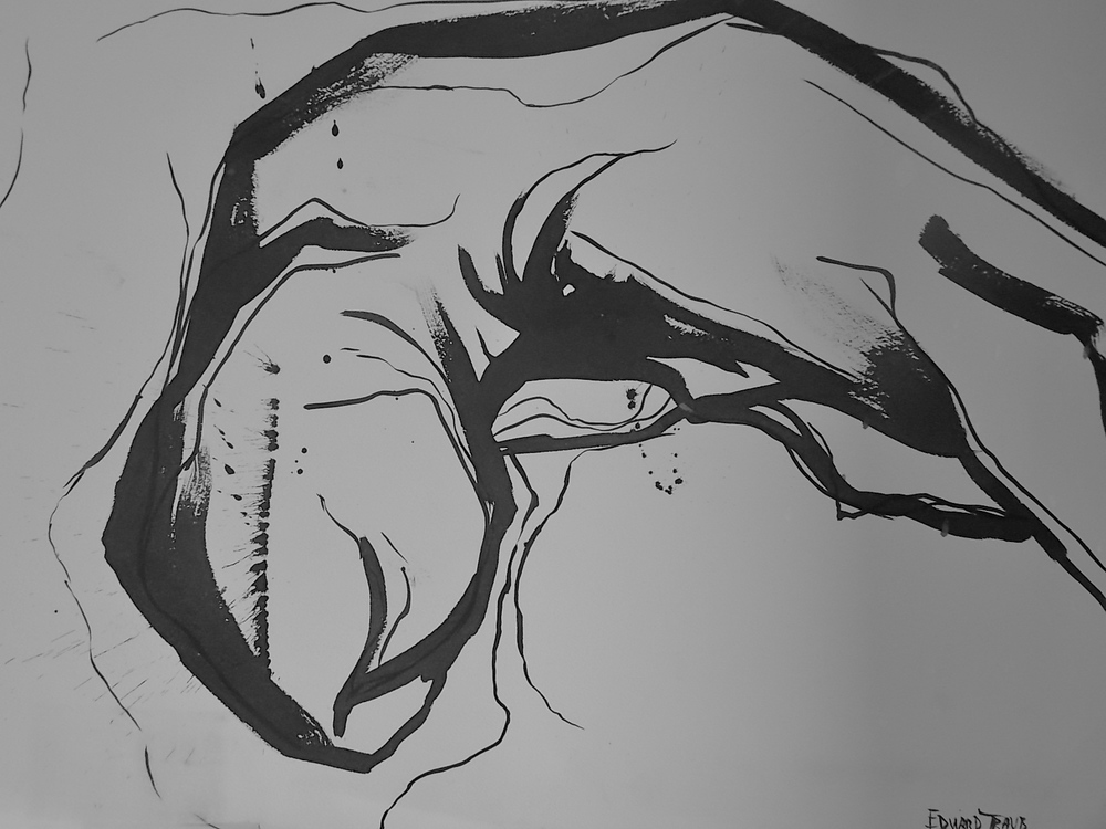 "Prostrate #1  Ink on Arches paper  22"" x 30"""