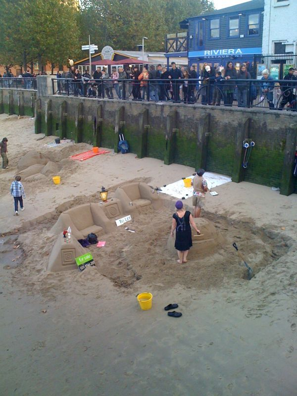 People getting creative with the sand on the South Bank. What exactly is it supposed be?