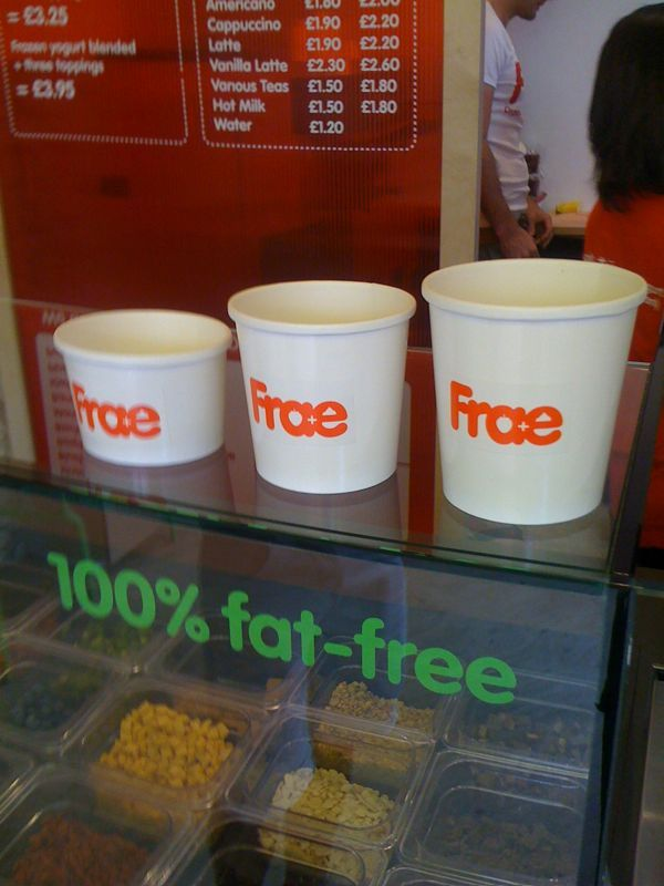 Enjoying a lovely frozen yog at Frae (Scottish for from) in Islington. Very nice indeed :)