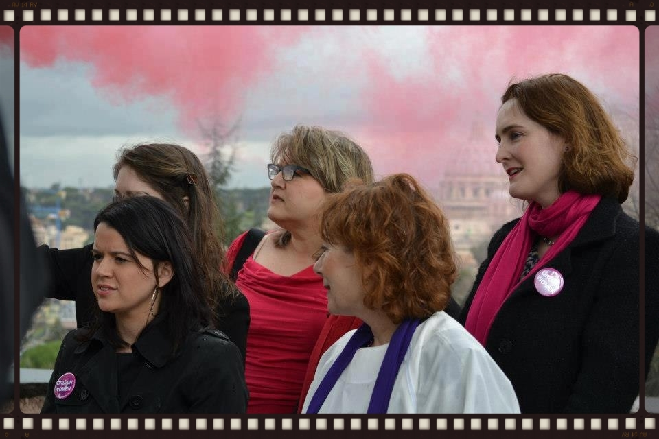 Pink Smoke Over the Vatican     — with  Erin Saiz Hanna (Women's Ordination Conference - USA) ,  Therese Koturbash (Catholic Network for Women's Equality - Canada), Janice Sevre Duszynkska (Association of Roman Catholic Womenpriests)  and  Miriam Duignan (womenpriests.org - International)  at   Piazza Giuseppe Garibaldi - Gianicolo  .