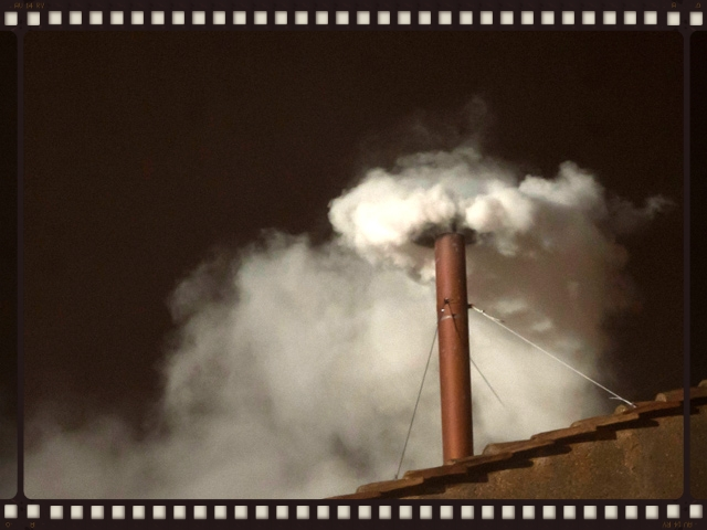 White smoke was seen coming from the Sistine Chapel chimney on 13 March at 19:06 local time, following the fifth ballot, and the bells began pealing minutes after, signifying the election of a new pope.The conclave elected Jorge Mario Bergoglio, SJ, an Argentine cardinal and archbishop of Buenos Aires, who selected the papal name Francis s .