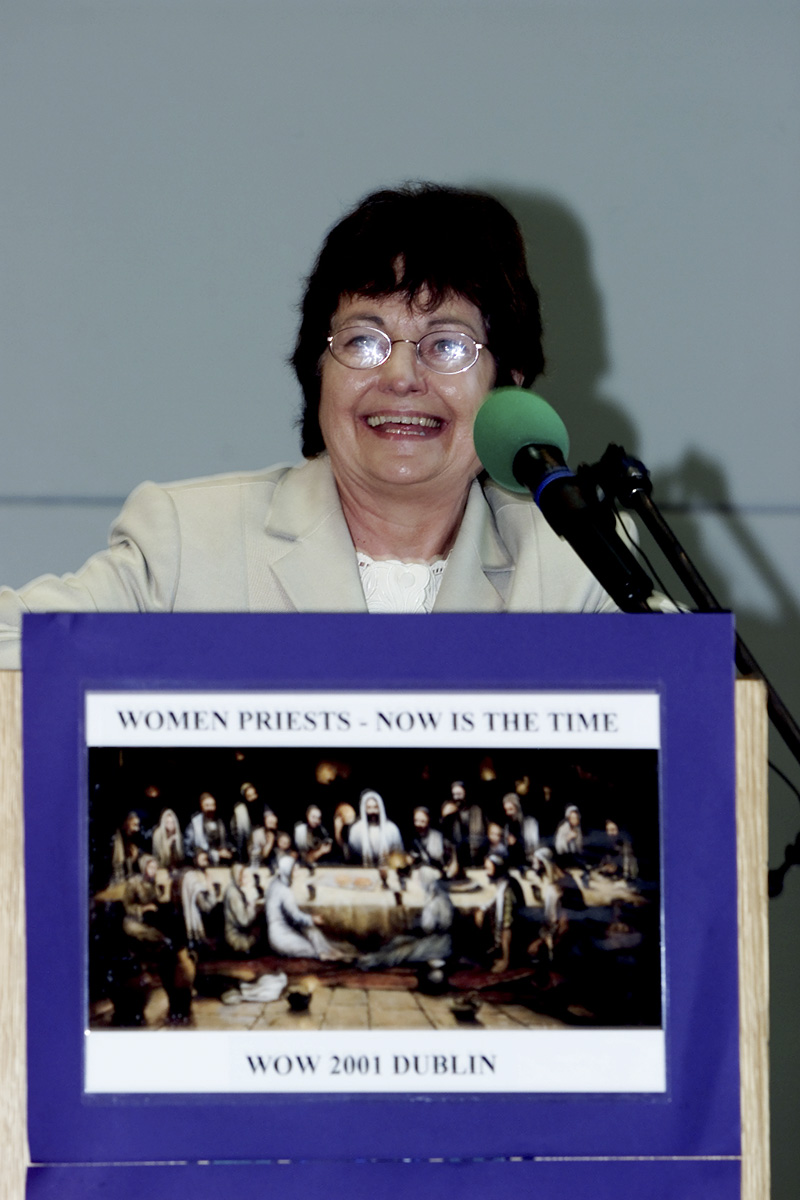 Keynote Speaker Mairead Corrigan Maguire at the podium, Women's Ordination Worldwide First International Conference Dublin, Ireland June 30 - July 1, 2001
