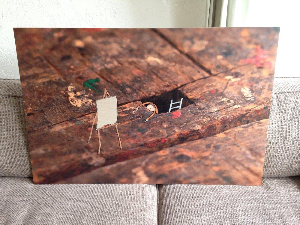 Voorbeeld grote houtdruk 60 x 90 cm
