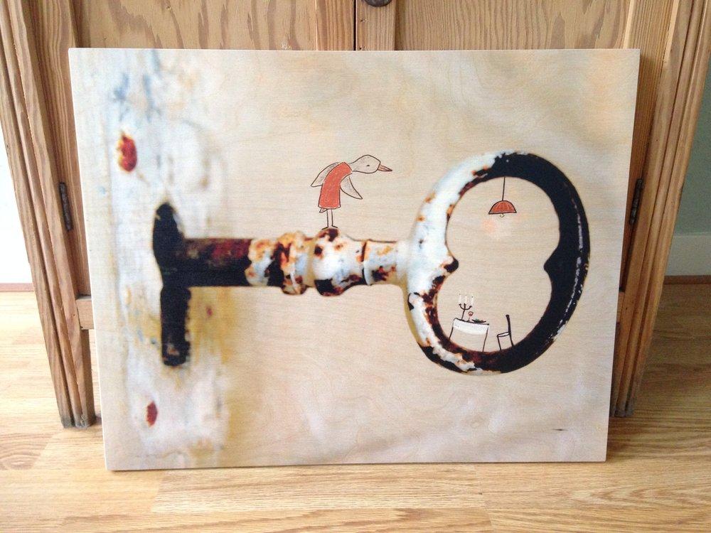 Voorbeeld houtdruk 'Thuis' 50 x 70 cm.
