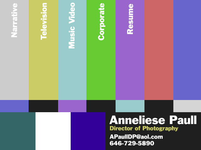 Anneliese Paul: Website for cinematographer working in TV
