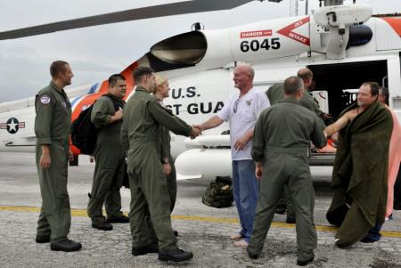 The crew from an HC-130 Hercules rescued 3 men after their 27ft fishing boat sank 23 mi W of Steinhatchee River, FL
