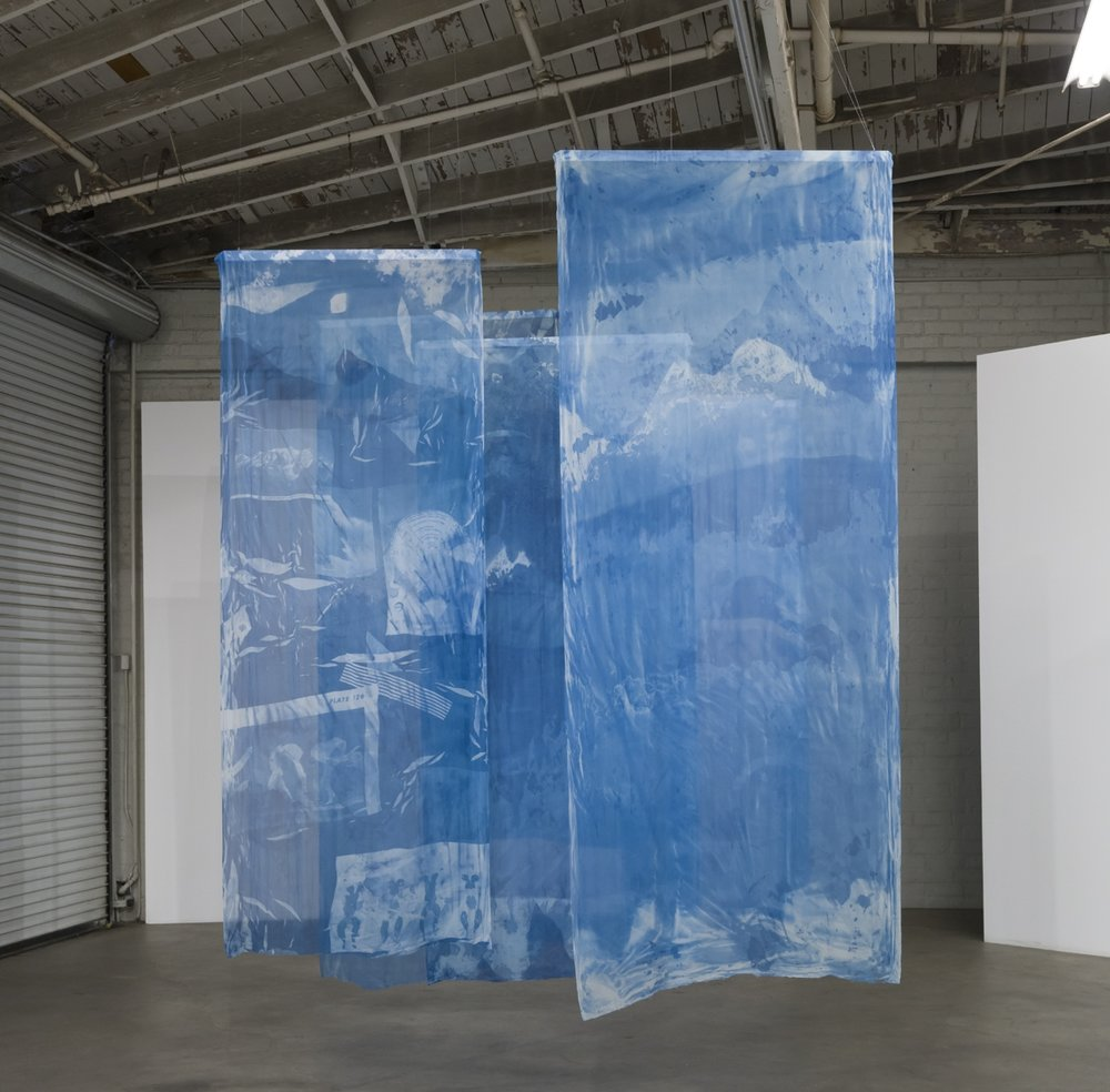 The Blue of Distance,  Cyanotypes on Silk, ~ 48x108in each, 2018