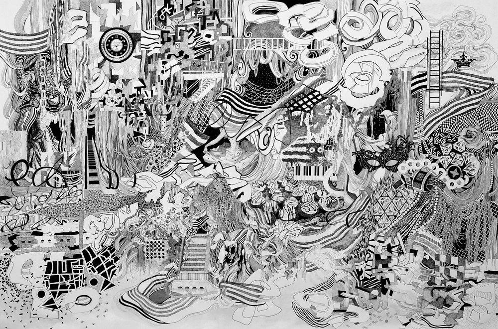 """""""Delirious Kingdom""""  pen, inkjet, cut paper, on paper  34"""" x 50""""  2018"""