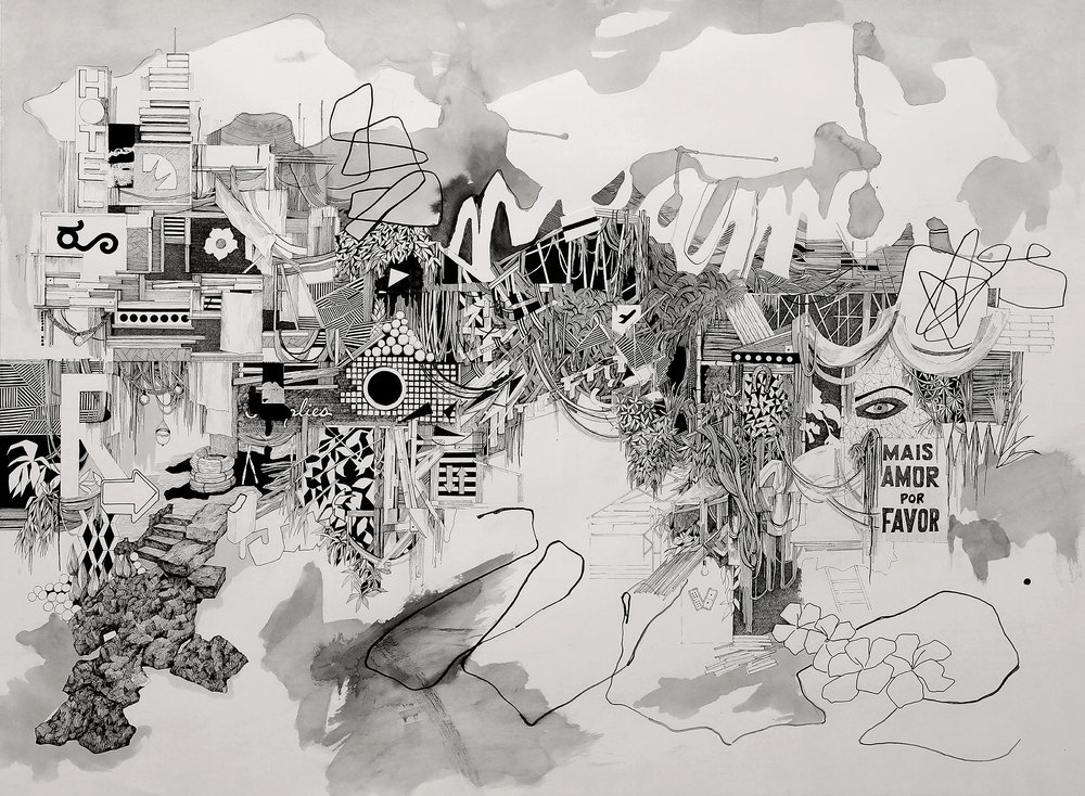 """Lost Island""  pen, gouache, cut paper, on paper  22"" x 30""  2017"