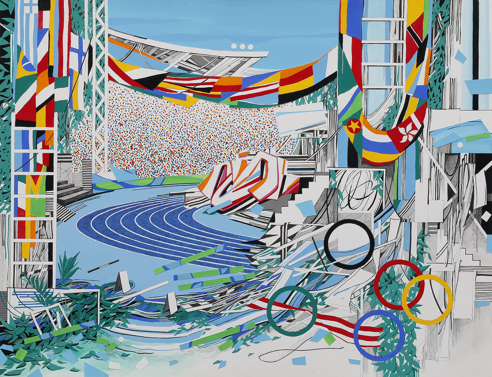 """""""Track and Field""""  pen, gouache, cut paper, on paper  22"""" x 17""""  2016"""