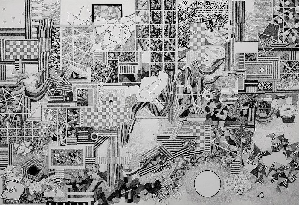 """""""Pool House,"""" pen, gouache, cut paper on paper, 30"""" x 44,"""" 2014"""