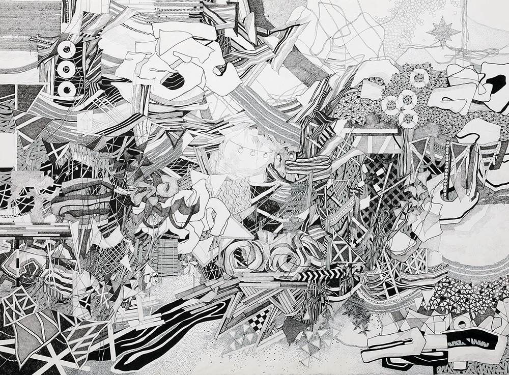 """Lost 2""  pen on paper  22"" x 30""  2014"