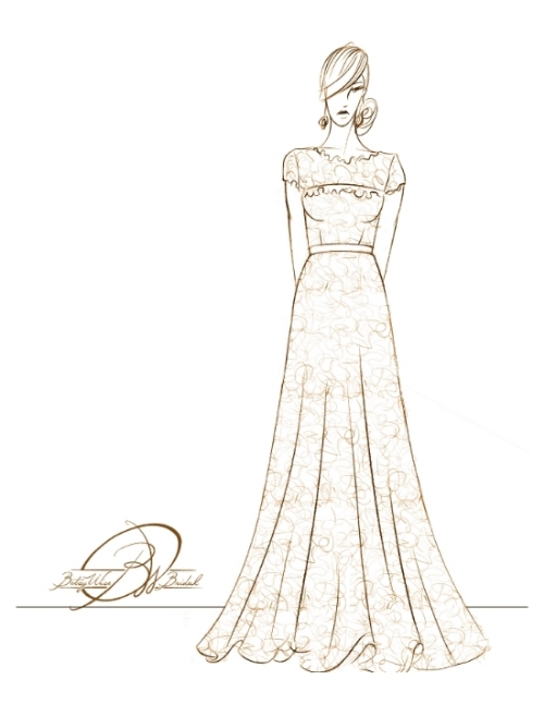 Final design sketch for reconstruction of heirloom 1940's gown.