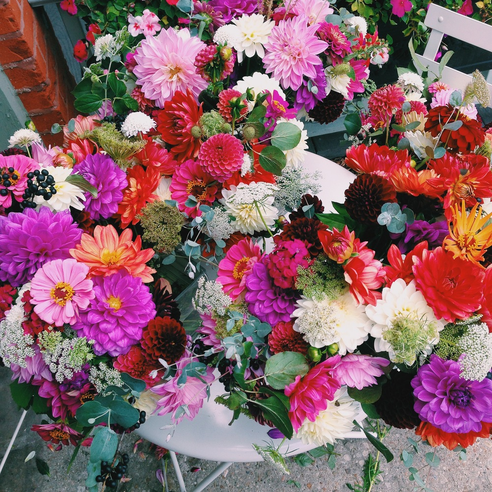 The last of the over 300 bouquets distributed for our summer/fall 2013 flower share.
