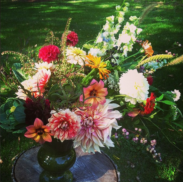 Spent some time arranging flowers next to the garden on a beautiful fall afternoon.