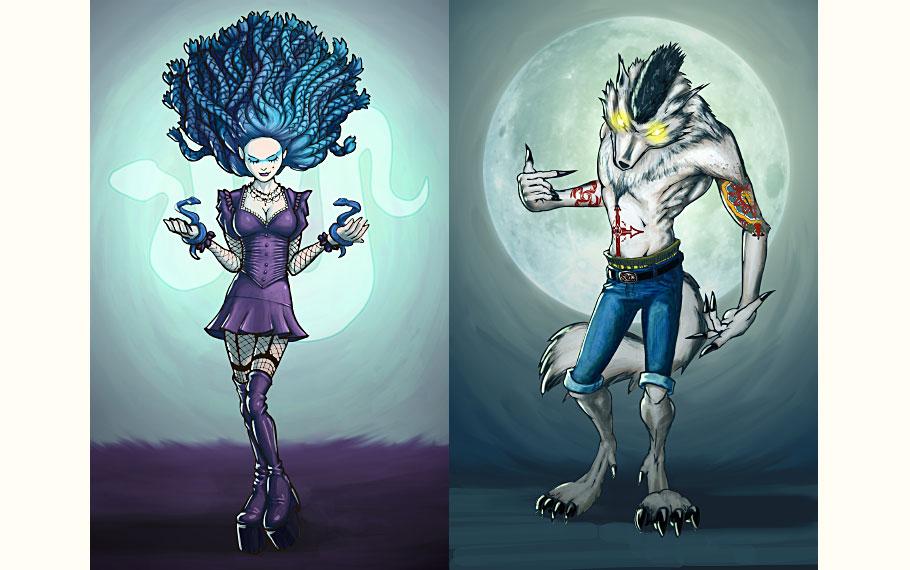 Goth Medusa, Thug Werewolf