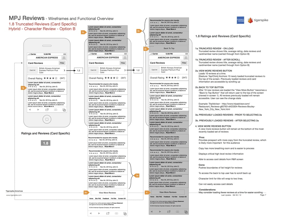 Annotated wireframes for rendering of new ratings and reviews page for American Express Mobile Prospect Journey.