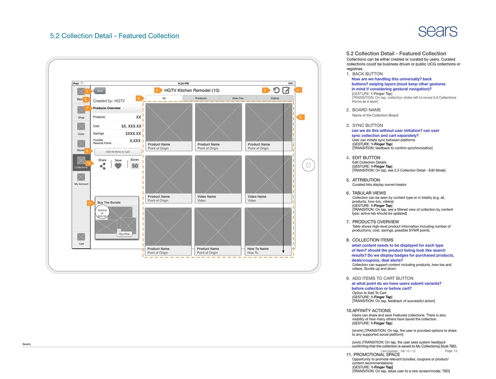 Collections boards enhance standard shopping lists, providing an opportunity to socialize and curate Sears products and content.