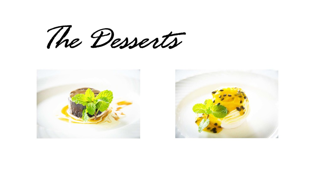 L: Flourless Chocolate Cake. R: Passionfruit Pavlova