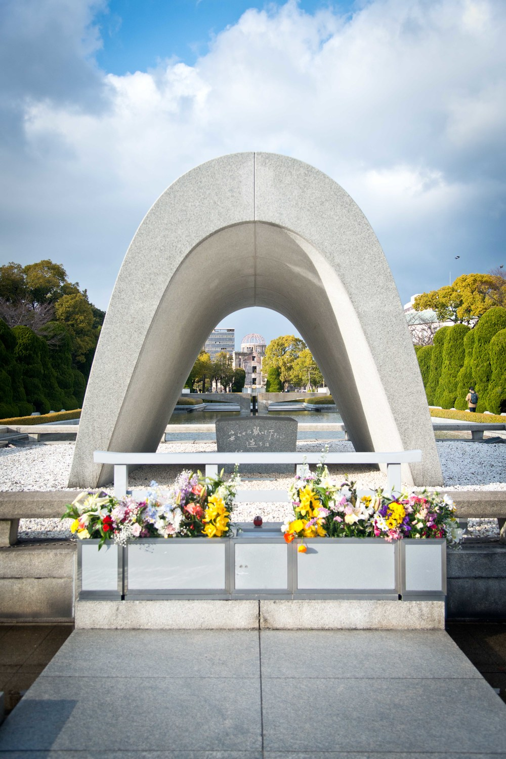 The Cenotaph, home to the eternal flame. The arch is intended to serve as a shelter to the 70,000 souls lost to the atomic bomb.
