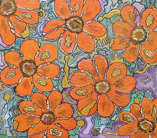 """7x7: Orange"" 80x90 cm (31.1 x 35.1 inch), Acrylic on canvas"