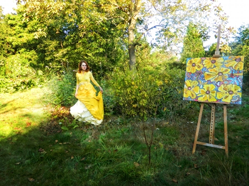 "Foxi and her ""7x7: Yellow"" painting, part of the ""7x7"" series"