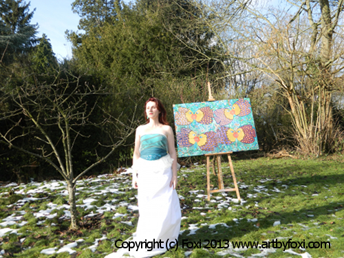 "Foxi and her painting ""Eight Kisses""."