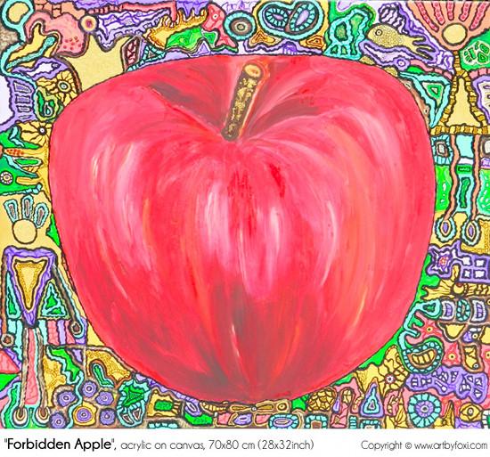 """""""Forbidden apple"""", 70x80 cm, acrylic on canvas"""