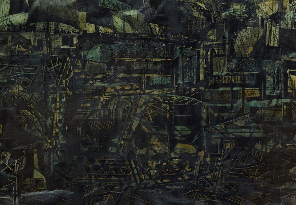 Ola-Dele Kuku (architect – artist)   Noah's Grief II / III  (detail)  Triptych 1998 – 1999  Built Image – mixed media on paper (80 cm / 120 cm X 3). Courtesy Ola-Dele Kuku Projects - collection of the artist.    photo : Maarten Strack Van Schijndel