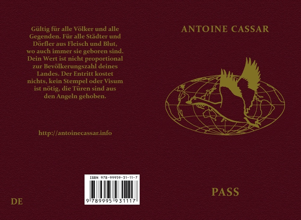 """German """"Pass"""". Adapted by Francis Kirps (zweite Ausgabe)."""
