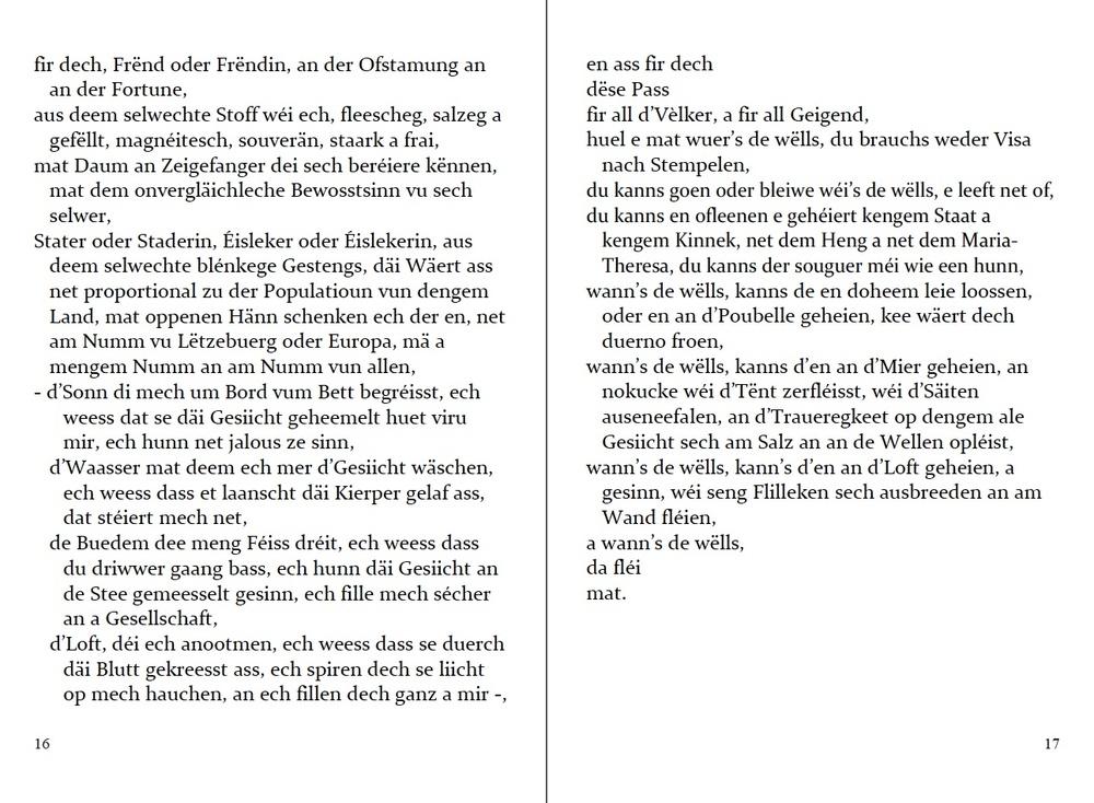 """p. 16-17 of Lëtzebuergesch """"Pass"""". Adapted by Francis Kirps (zweet Editioun)."""