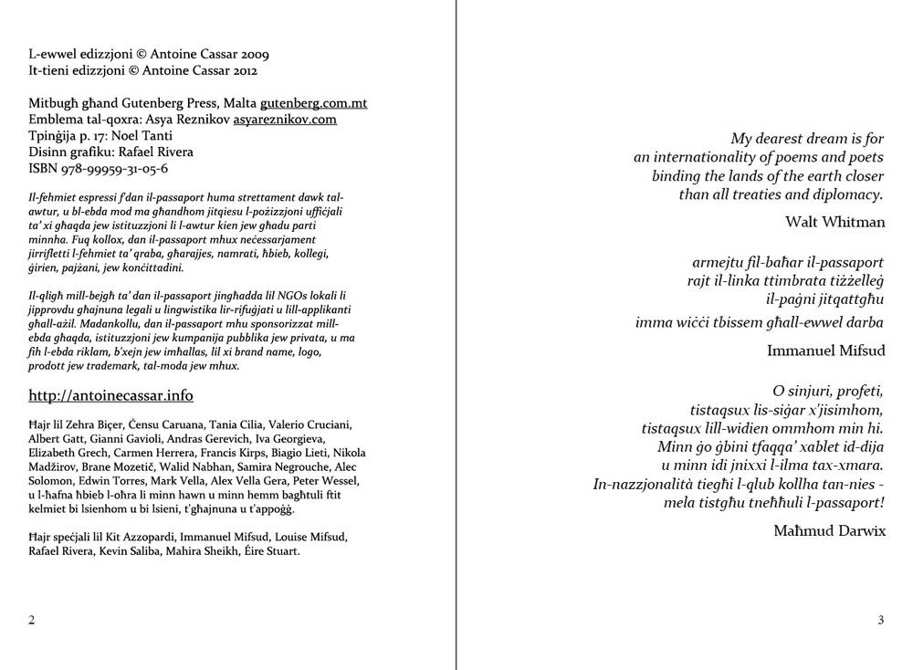 "p. 2-3 of ""Passaport"", in the original Maltese (2nd edition)."