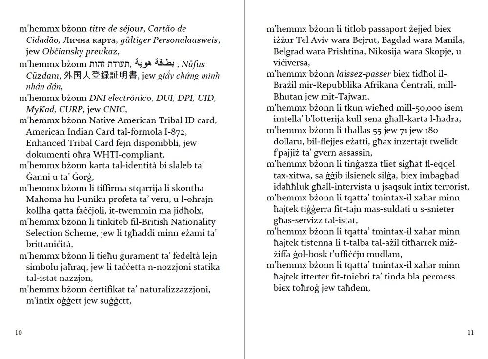 "p. 10-11 of ""Passaport"", in the original Maltese (2nd edition)."
