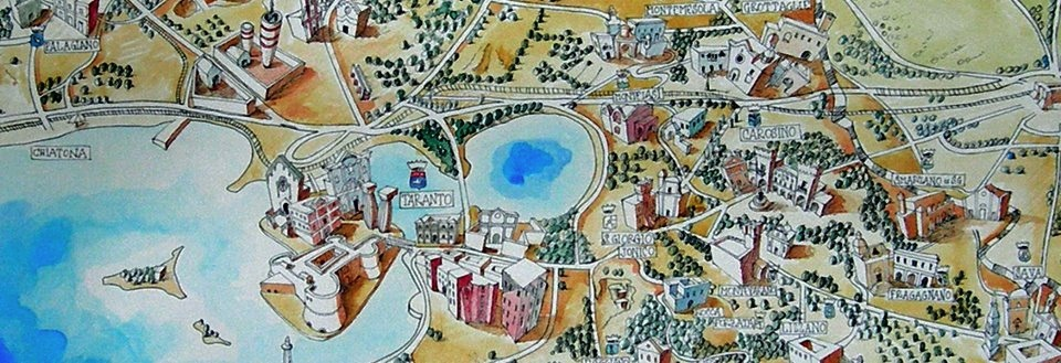 Detail from  Terra tarantina , a map by visual artist  Francesco Frascella  (Carosino / Rome)
