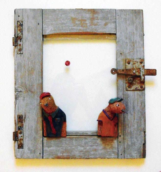Devo migrare – Promettimi che torni, wood and ceramics, by Giorgio di Palma (Grottaglie)